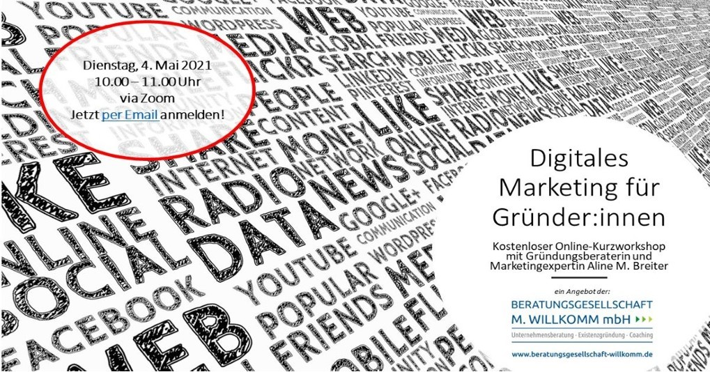 Digitales Marketing für Gründer:innen – Kostenloser Kurzworkshop am 4. Mai 2021 von 10.00 – 11.00 Uhr mit Aline M. Breiter